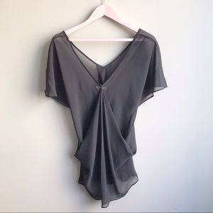 🍍SALE🍍LAmade Sheer Gray Drapped Blouse